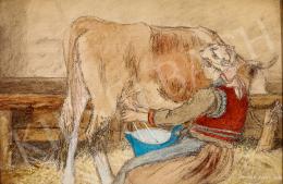 Benedek Péter - Tehenet fejő lány, 1928