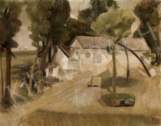 For sale Vörös, Rozália (Redő Ferencné) - Farm in Szolnok, c. 1935 's painting