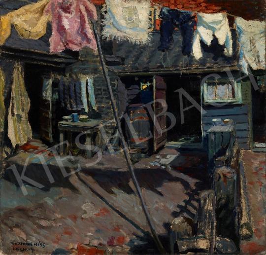 Eladó Kiss Rezső - Udvar száradó ruhákkal, 1909 festménye