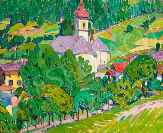 For sale Kosztolányi Kann, Gyula - Sunlit Landscape with Houses, 1910's 's painting