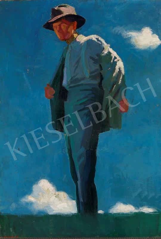 Eladó Oláh Sándor - Kalapos férfi napsütésben, 1910-es évek festménye