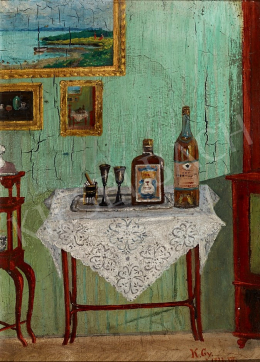 Unknown Painter with K.Gy. Sign - Thonet Table with Drinks, 1922