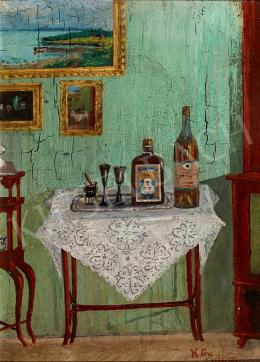 Ismeretlen művész K.Gy. szignóval - Thonet asztalka italokkal, 1922