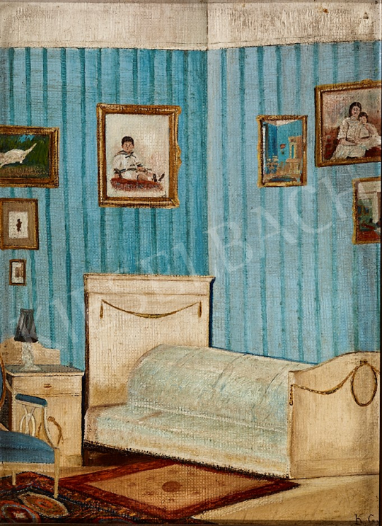 Eladó  Ismeretlen művész K.Gy. szignóval - Kék tapétás hálószoba, 1920 körül festménye