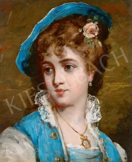 Bruck Lajos - Kék kalapos fiatal párizsi lány rózsával, 1877