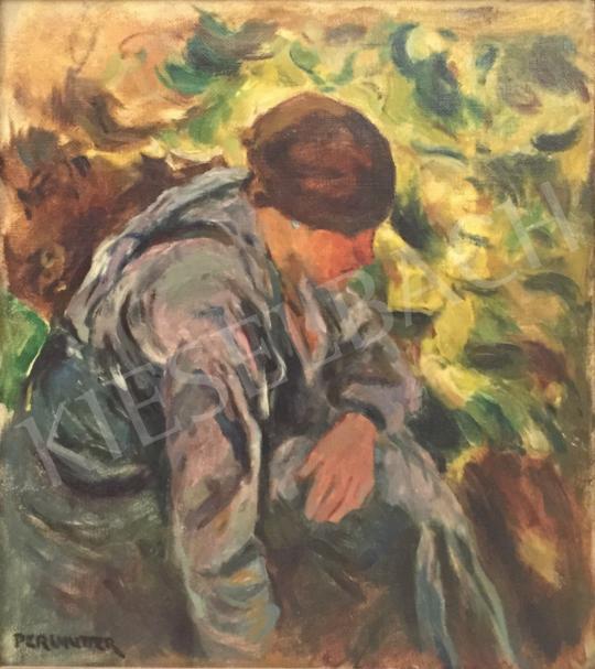 Perlmutter Izsák - Fejkendős nő a kertben festménye