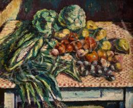 Bertalan Albert - Asztali csendélet zöldségekkel és gyümölcsökkel