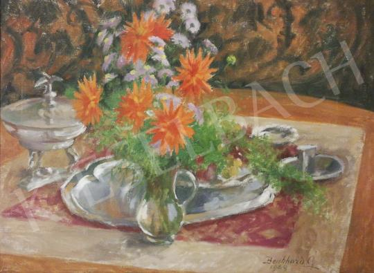 For sale  Benkhard, Ágost - Table Still-Life with Dahlias 's painting