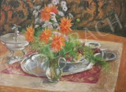 Benkhard, Ágost - Table Still-Life with Dahlias