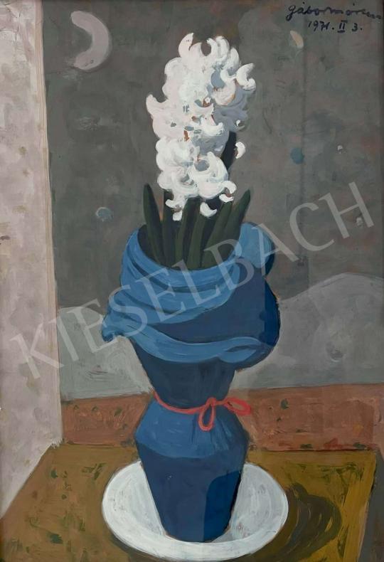 Eladó  Gábor Móric - Asztali csendélet virággal (Fehér orgona kék vázában), 1971 festménye