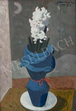 Gábor, Móric - Table Still-Life with Flower (White Lilac in Blue Vase), 1971