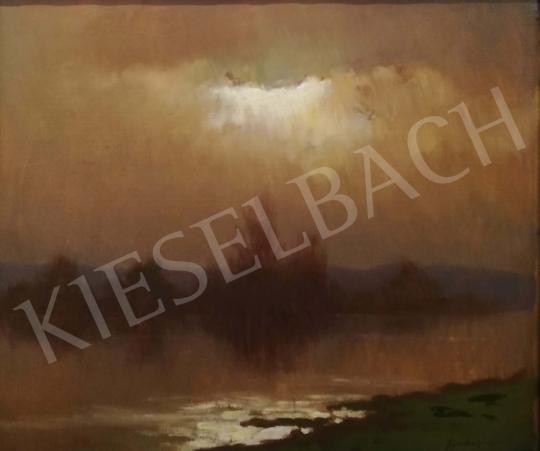 Eladó Szepesi Kuszka Jenő - Borús folyóparti látkép festménye