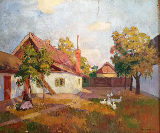 Kléh János - Falusi udvar festménye