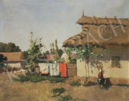 Neogrády László - Falun (Kerítésen száradó ruhák)