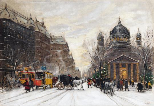 For sale  Berkes, Antal - Winter Street in the City, 1913 's painting