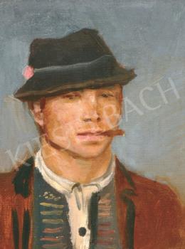 Mednyánszky László - Cigarettázó fiú kalapban