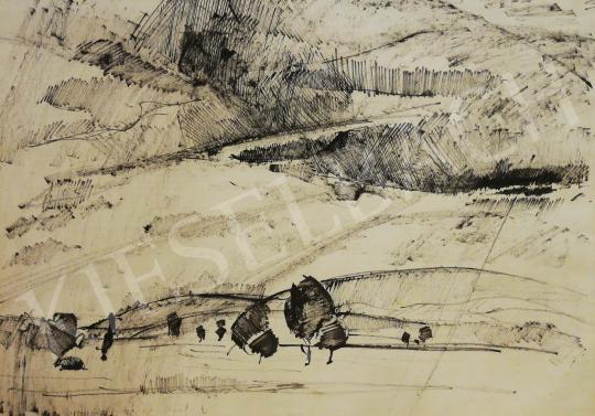 Aba-Novák Vilmos - Tájkép dombokkal és fákkal festménye