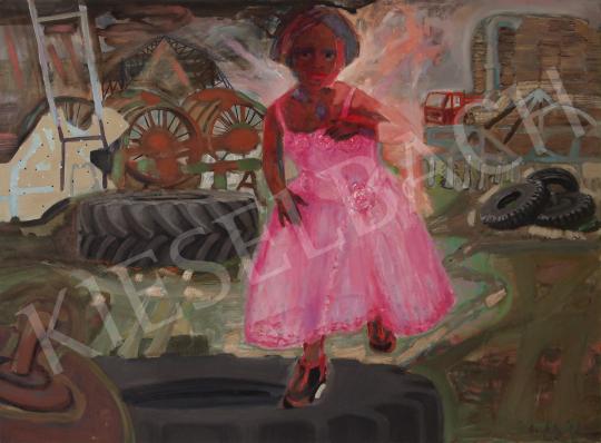 Bukta Imre - Kislány traktorgumival festménye