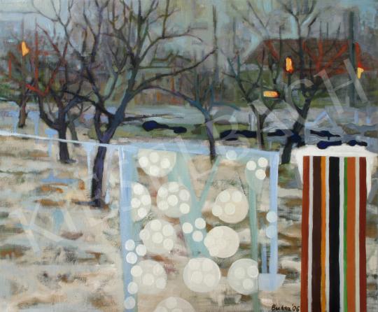 Bukta Imre - Téli kert nyaksállal festménye