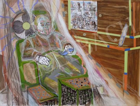 For sale  Bukta, Imre - Village man watching TV 's painting