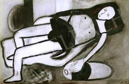 Eladó  feLugossy László - Fekete nyugágyon festménye