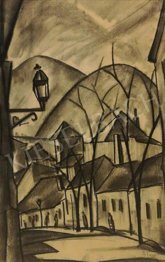 Simon György János - Városrészlet háttérben dombokkal festménye