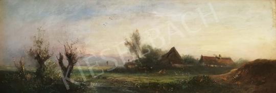 Eladó Mesterházy Kálmán - Vidéki látkép háttérben hegyekkel festménye