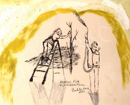 Bukta, Imre - Adam and Eve in the apple garden painting