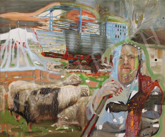Bukta Imre - Ilus eladja bárányait festménye