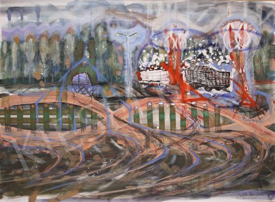 Bukta Imre - Mezőgazdasági udvar festménye