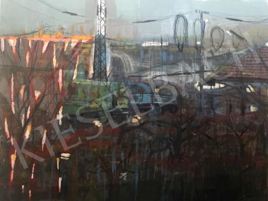 Bukta Imre - Lepusztult téesz udvar festménye