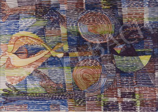 Eladó Gyarmathy Tihamér - Hommage a Klee (Szorongó indulatok), 1977 festménye