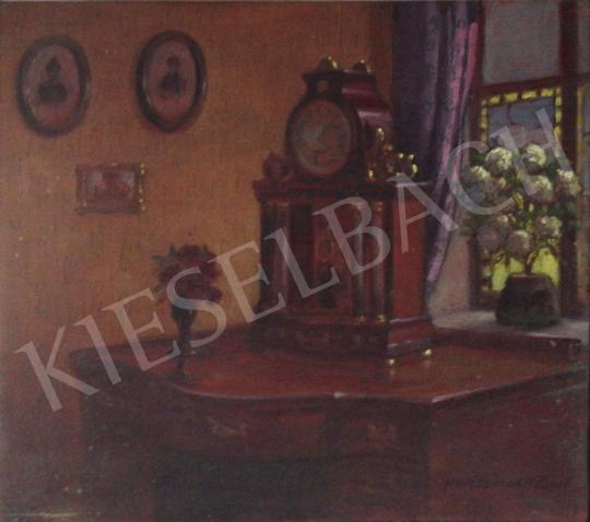 For sale Halász Hradil, Rezső (Halász Hradil René) - Interior with Mantel Clock 's painting