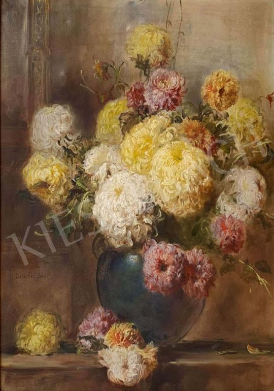 Eladó  Dolányi Benczúr Ida - Virágcsendélet krizantémmal festménye