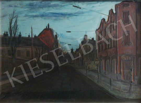 Eladó Koch Vilmos - Utcarészlet alkonyati fényekben festménye
