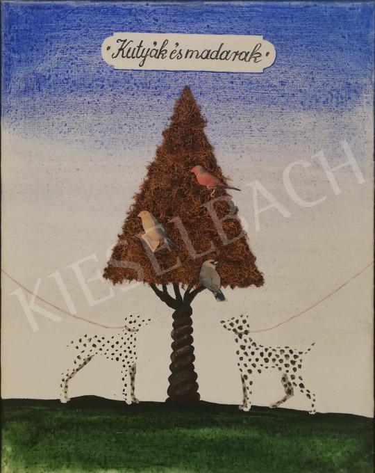 Eladó Regős István - Kutyák és madarak, 1987 festménye