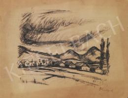 Tihanyi Lajos - Hegyek, felhők, házak