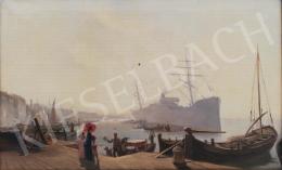 Ismeretlen festő - Velencei kikötő gondolával