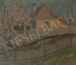 Ismeretlen festő - Ház kerítéssel (Tavasz)