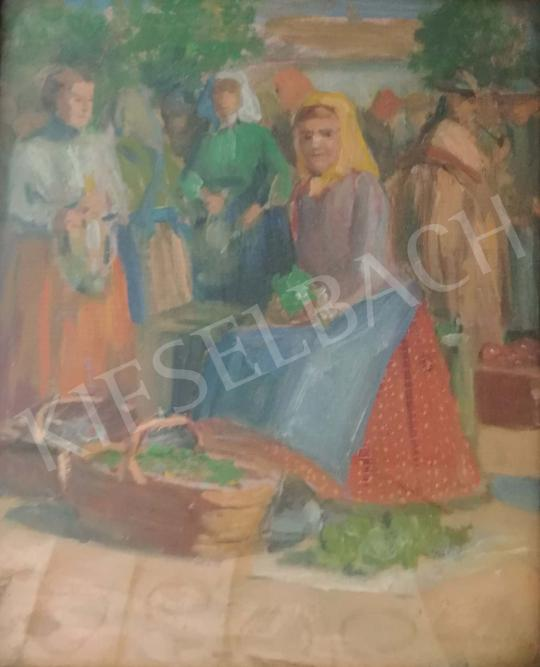 Horváth G. Andor - Piaci jelenet festménye