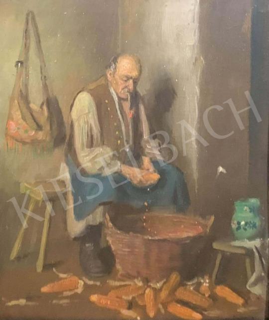 Horváth G. Andor - Kukoricafejtés festménye