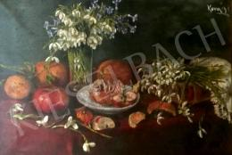 Unknown painter with a sign of Kovács - Table Still Life with Snowdrops