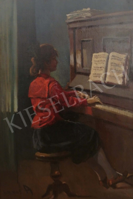 Lakos, Alfréd - Girl with piano