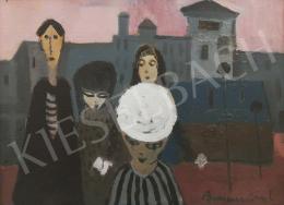 Bornemisza László - Fehér kalapos lány barátokkal