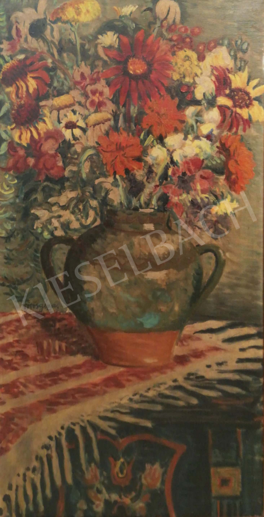 For sale  Vörös, Géza - Studio still life with wild flowers 's painting