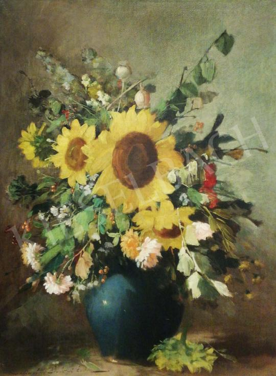 For sale Kömpöczi Balogh, Endre - Flower Still Life with Sunflowers 's painting