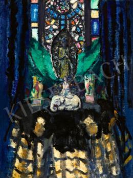 Csók István - Keleti oltár a festő műtermében (Buddha üvegablak előtt)