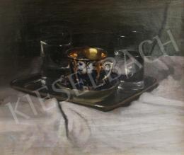 Pentelei Molnár János - Asztali csendélet csészével és pohárral