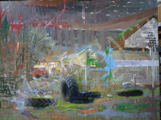 Bukta Imre - Falusi udvar  festménye