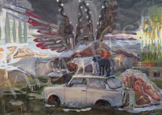 Bukta Imre - Hajnalt ugató kutyák festménye